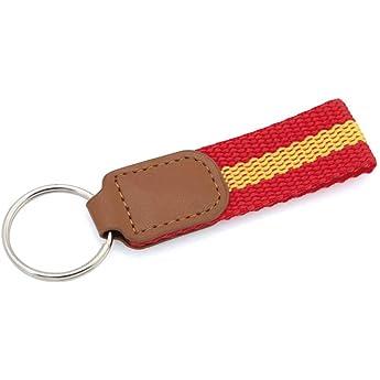 Llavero Lona Bandera ESPAÑA de polipiel | Con accesorios de bandera española en la cinta y refuerzo.: Amazon.es: Ropa y accesorios