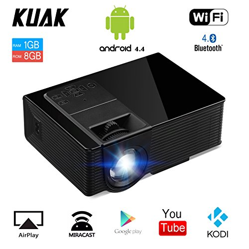 Android Projector, Built-in Android OS Wifi Bluetooth Projector, Portable Wireless Video Projector Support 1080P for Home Movie TV DVD Player Video Games – Black by KUAK