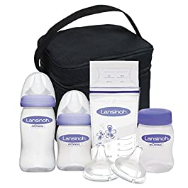 Lansinoh Breastmilk Storage & Feeding Set with Cooler Includes Bottles, Nipples, Bottle Caps, Collars, Storage Caps, a…