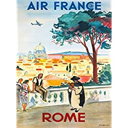 Rome Italy St. Peter's Basilica Roman Italian Air France Vintage Travel Collectible Wall Decor Poster. Poster measures 10 x 13.5 inches.