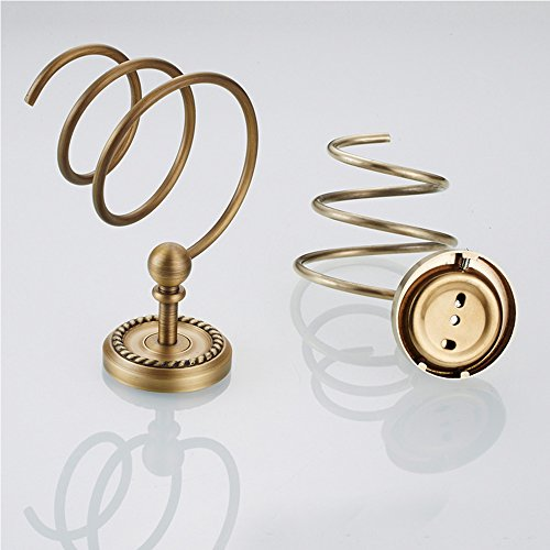 Vejaoo Antique Brass Spiral Practical Wall-mounted Bathroom Hair Dryer Holder by Vejaoo (Image #3)