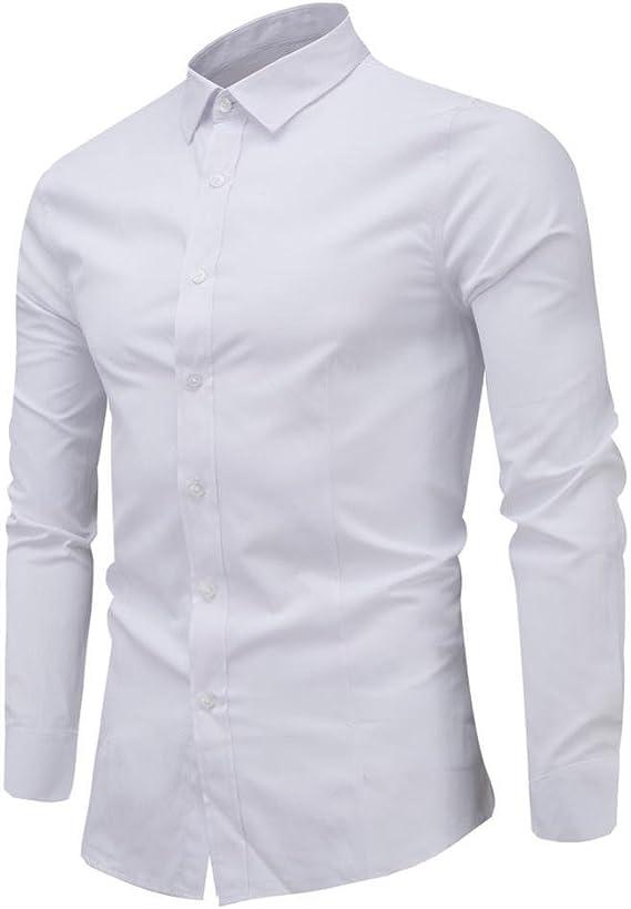 Camisas hombre Hombres de negocios de ocio de manga larga camisas, YanHoo® Camisa de los hombres Slim Fit manga botón camisas blusa formal superior Estilo del ocio de la manera (Blanco, XL): Amazon.es: