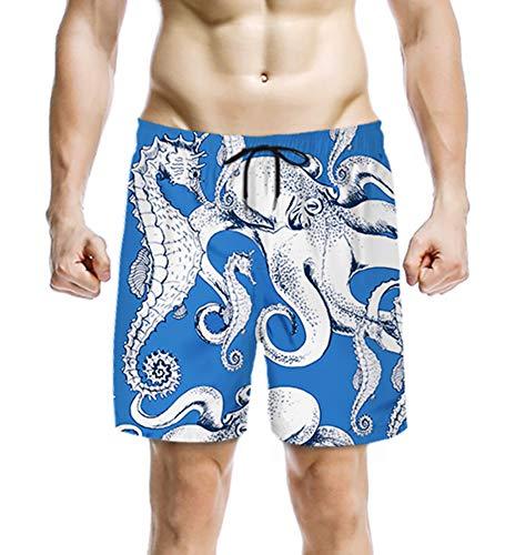 (Quick Dry Shorts for Men Seahorse Graphic Cool 3D Print Popular Swim Trunks M )
