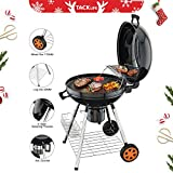 TACKLIFE Charcoal Grill, 22.5 inch Diameter Practical Double-Layer Grid Portable Grill, Reinforced 1.25 inch Thickened Steel Support Frame BBQ Grill, One-Touch Clean System(Ash Leak) – CG01A