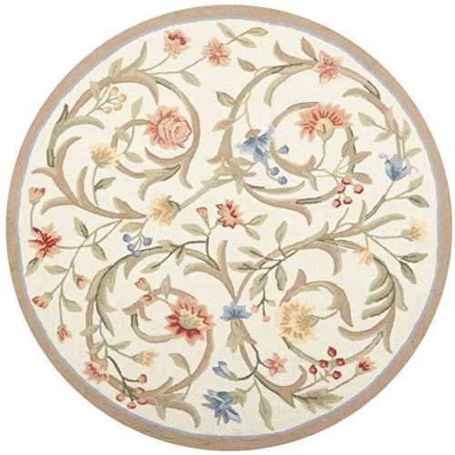 Berry Hooked Rug - Safavieh Chelsea Collection HK248A Hand-Hooked Ivory Premium Wool Round Area Rug (5'6