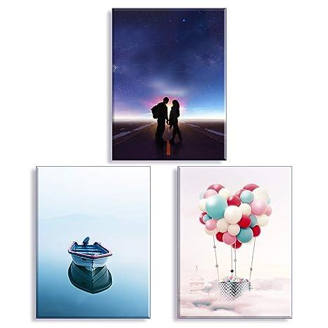 Piy Painting Tableau de Amoureux Voyage avec Ballon à air Chaud Haute  qualité Image Impression sur Toile Prêt accrocher Parfait pour Salle de  Bain ...