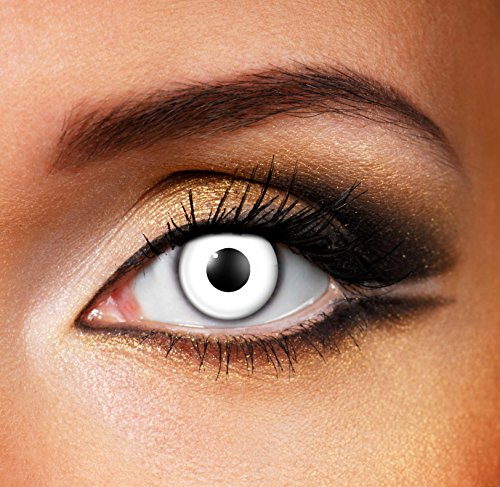 Lenses Contacts Halloween (Adults Mens Ladies White Out Halloween Carnival Cosmetic Coloured Fancy Dress Eye Wear)