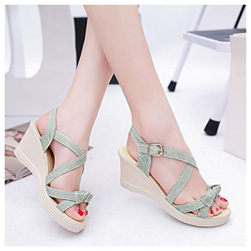 Summer Sandals, Inkach Women Summer Sandals Casual Peep Toe Platform Wedges Sandals Green