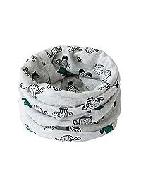 Children Soft Skin-Friendly Cotton Neck Warmer Neckerchief Cartoon Footprint Printing Scarf for 1-8 Years Old Kids