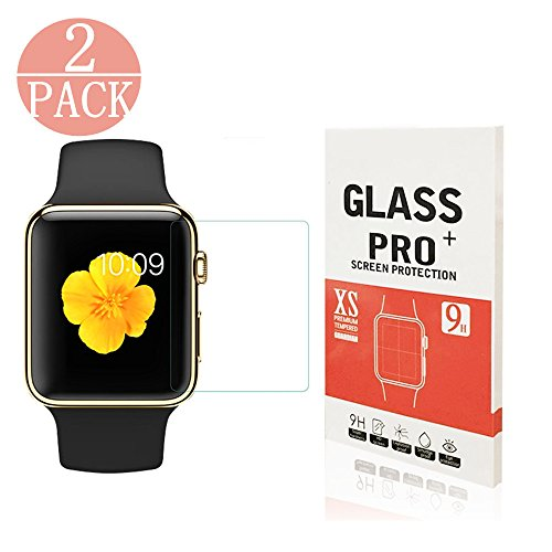 Price comparison product image Apple Watch 38mm Screen Protector, Rockxdays [High Definition][Anti-scratch][9H Hardness]Only Covers the Flat Area Tempered Glass Screen Protector For Apple Watch 38mm - 2 Pack