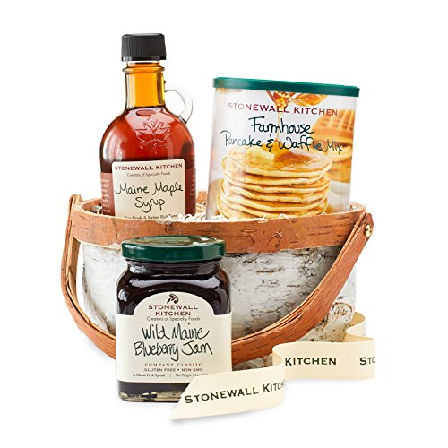 Stonewall Kitchen Breakfast Baskets and Sets (3 Piece White Birch Basket) (Gift Baskets From Maine)