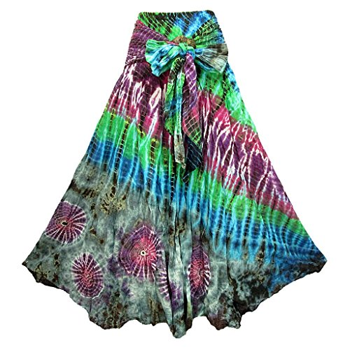 - Women's Tie Dye Smock Waist Tie Waist Crinkle Cotton Skirt with Coconut Buckle - S0680