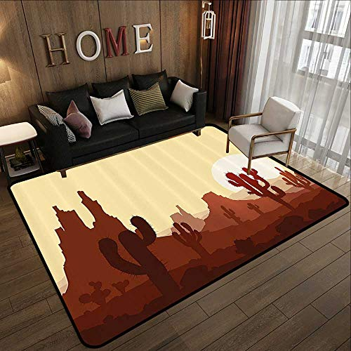 Bath Rugs,Cactus Decor,Arid Country Landscape with Sunset in Stone Desert Saguaro Mountains,Yellow Brown Redwood 55