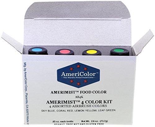 AmeriColor AmeriMist 4 Color Kit, Airbrush Food Color Kit, .65 Ounces