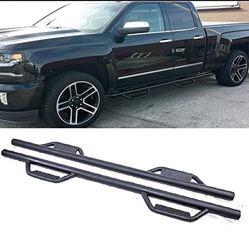Ajaa 2007-2018 Chevy Silverado GMC Sierra Double/Extended Cab Black Hoop Running Boards (Nerf Bars | Side Steps | Rails)