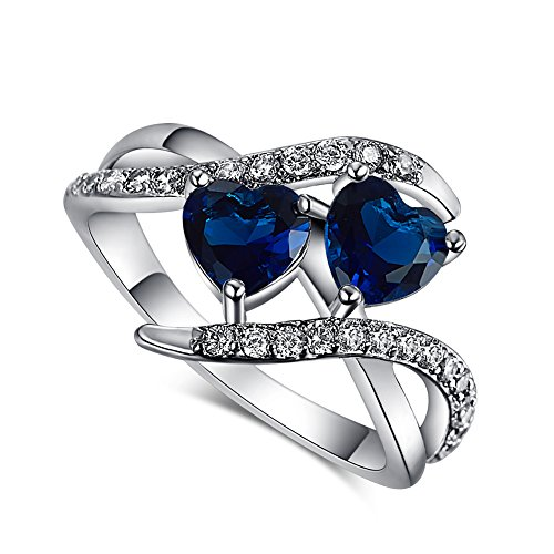 [Psiroy 925 Sterling Silver Elegant Sapphire Quartz Double Heart Filled Ring for Women] (Princess Daisy Costumes Pattern)