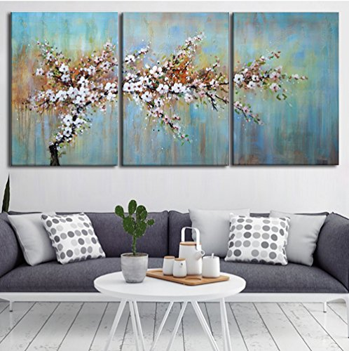 Handmade Oil Painting Plum Blossom Picture white Pink Flora Artwork on Canvas 3 Piece Home Decor Modern Flower Wall Art for Living Room,Gallery-Wrap Framed Stretched Ready to (04 Canvas)