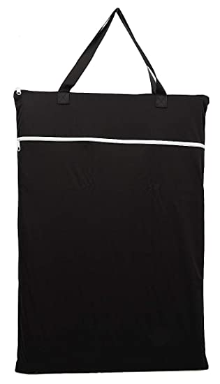 Black Large Hanging Wet//Dry Cloth Diaper Pail Bag for Reusable Diapers or Laundry