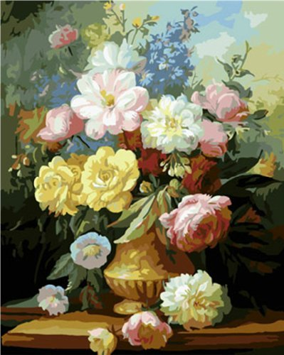 DIY Oil Painting Newsight Paintworks Paint By Number for Kids and Adults (Peony Flower) (Framed Peony)