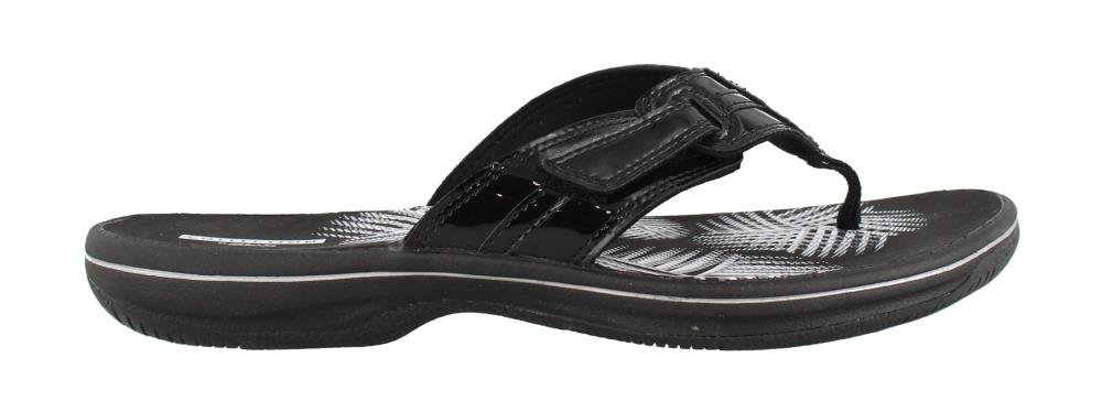 CLARKS Women's, Brinkley Bree Thong Sandals Black Patent 10 M by CLARKS