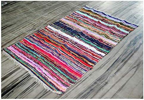 Alfombra de algodón estilo indio, bohemia y reversible hecha a mano, trenzada para decoración de pisos del hogar, alfombra de yoga: Amazon.es: Hogar
