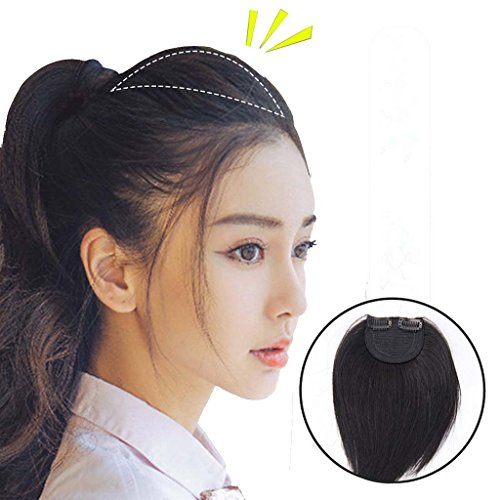 Moreal 100% Real Human Hair One Piece Clip in Hair Extensions Wiglets for Women Thinning Hair Dark Brown - Head Topper