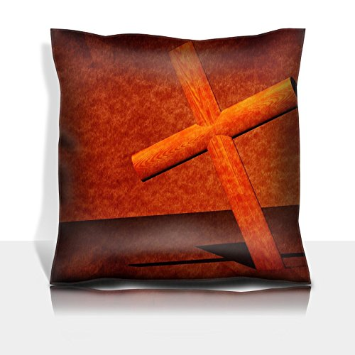 MSD Throw Pillowcase Polyester Satin Comfortable Decorative Soft Pillow Covers Protector sofa Holy cross with old yellow paper 2D art Image 3330821 Customized Tablemats Stain Resist by MSD