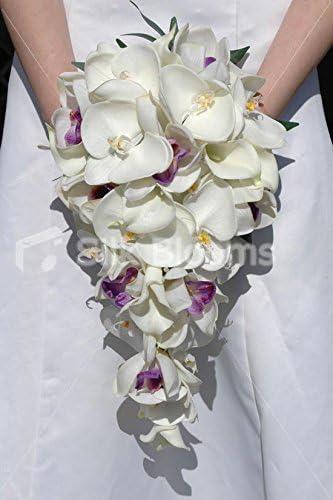 Bouquet Da Sposa Orchidee.Bouquet Da Sposa A Cascata Con Orchidea E Giglio Bianco E Avorio