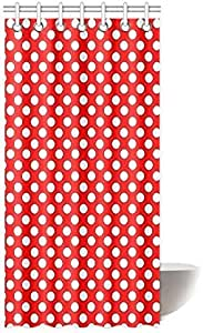 "12Hooks 72//79/"" 2513 New Modern Big Red Polka Dot Bathroom Fabric Shower Curtain"