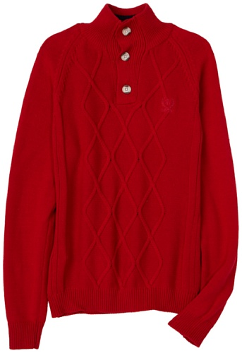 IZOD Big Boys' Mock Neck Sweater, Red, X-Large (Izod Sweater Cable)