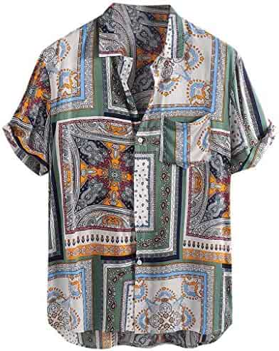 Easytoy Fashion Mens O Neck Casual Slim Fit Short Sleeve Printed Shirt Top