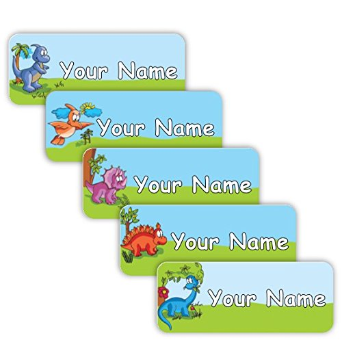 Original Personalized Peel and Stick Waterproof Custom Name Tag Labels for Adults, Kids, Toddlers, and Babies – Use for Office, School, or Daycare (Dinosaurs Theme) by Oliver's Labels (Image #4)