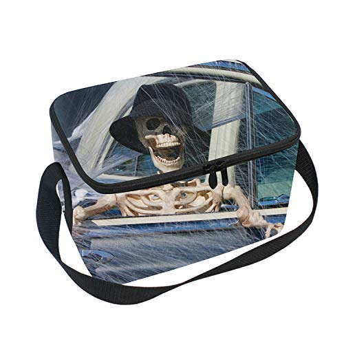 (Halloween Skeleton Driver Reusable Insulated Lunch Tote Bag Portable Lunchbox)