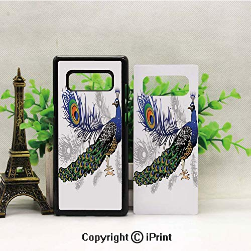 Case for Galaxy note8,Male Peacock Feathers Springtime Wilderness Crowned Majestic Animal Pattern Decorative Shockproof Series TPU Bumper Protective Case for Samsung Galaxy note8, 2017 Release Print