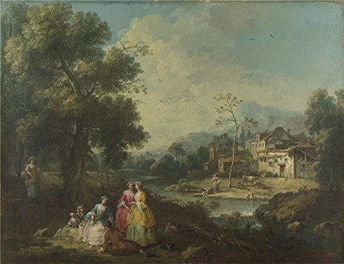 'Giuseppe Zais Landscape With A Group Of Figures ' Oil Painting, 16 X 21 Inch / 41 X 53 Cm ,printed On High Quality Polyster Canvas ,this Best Price Art Decorative Prints On Canvas Is Perfectly Suitalbe For Nursery Decoration And Home Gallery Art And Gifts