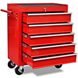 Festnight Metal Workshop Rolling Tool Trolley Utility Cart with 5 Drawers, Red