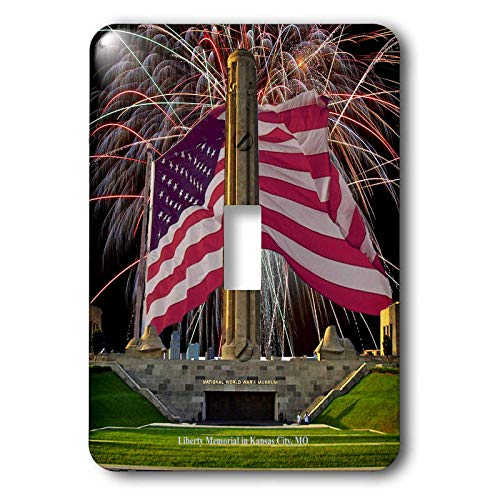 Kansas City Memorial - 3dRose Sandy Mertens Missouri - Kansas City Liberty Memorial with Fireworks and Flag - Light Switch Covers - single toggle switch (lsp_47348_1)