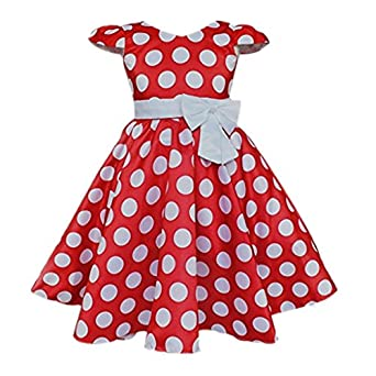 Kids 1950s Clothing & Costumes: Girls, Boys, Toddlers Toddlers Polka Dot Skirt Cap Sleeves Flowers Girl Vintage Bow Dress $21.99 AT vintagedancer.com