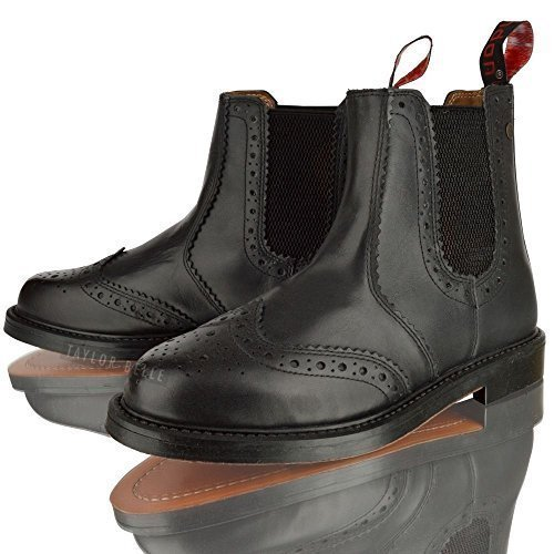 MENS REAL LEATHER CHELSEA DEALER BROGUE BLACK TAN LEATHER SOLE ANKLE BOOTS SHOES (11, BLACK)