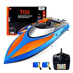 GizmoVine RC Boat High Speed (20MPH+) Remote Control Boats for Pools and Lakes with Extra Battery for Kids and Adults, 2019 Update Version (Blue and Orange)