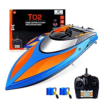 GizmoVine RC Boat Excessive Pace (20MPH+) Distant Management Boats for Swimming pools and Lakes with Further Battery for Children and Adults, 2020 Replace Model (Blue and Orange)