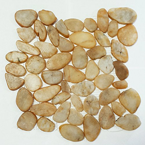 Interlocking Pebble Floor Tile | Kitchen, Bathroom, and Patio Flooring | Indoor and Outdoor Use | Natural Honey Color Stones | Quick and Easy Grout Installation