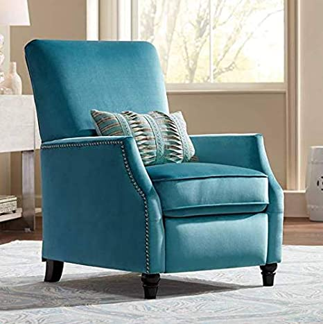 Katy Turquoise Velvet Push Back Recliner Chair Studio 55d Kitchen Dining