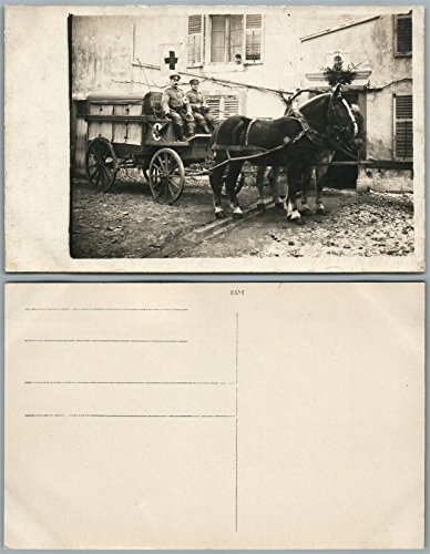 RED CROSS HORSE DRAWN WAGON WWI ANTIQUE REAL PHOTO POSTCARD RPPC