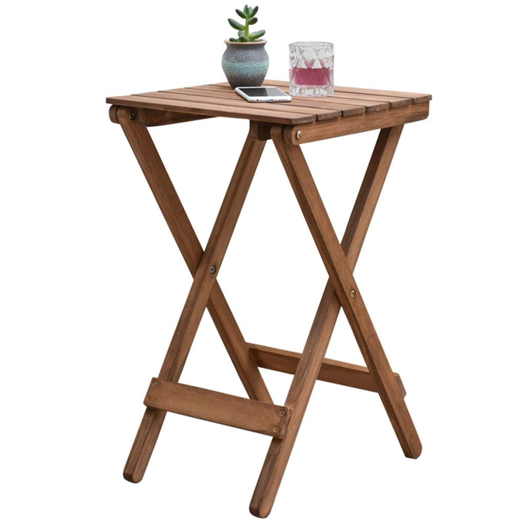 Coffee Tables Small Table Flower Stand Solid Wood Flower Stand Outdoor Folding Table (Color : Beige, Size : 363650cm)