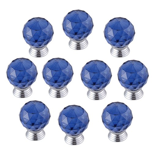 WinnerEco 10x Modern Furniture Handles Crystal Sphere Ball Cabinet Drawer Knobs,Blue