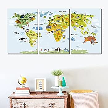 Shuaxin Modern Cute World Map Find Animal In The World Map Print On Canvas  Home Children