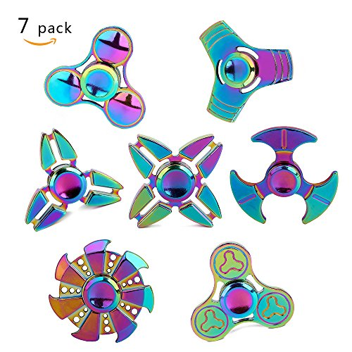 Rainbow Spinner (Metal Fidget Spinner 7 Pack Stainless Steel Bearing 3-5 Min High Speed Stress Relief Spin ADHD Anxiety Toys for Adult Kid Autism Fidgets Best EDC Hand Spinners Finger Toy Focus Fidgeting SCIONE)