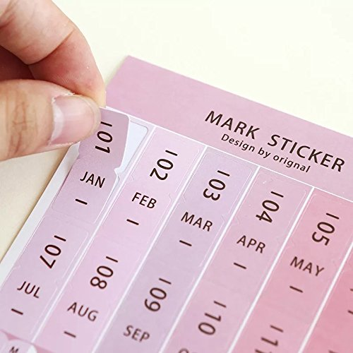 US 2018 Calendars Stickers for Bullet Journal/Planners/Agenda/Books/Diary, Easy to Peel and Stick Monthly Index Dividers, Self Adhesive Tabs,4 DIY sticky Paper & 4 DIY sticky PVC (8 sheets )
