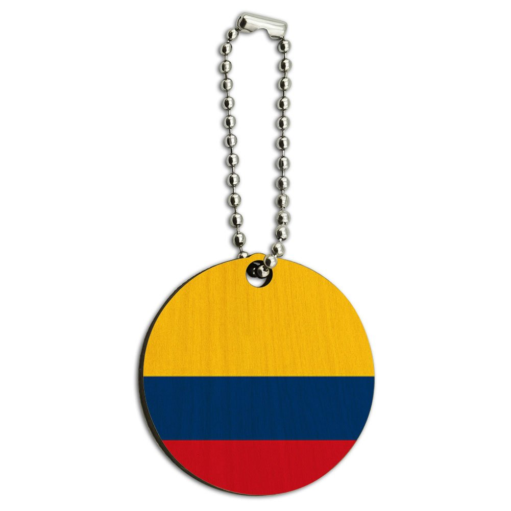 Colombia National Country Flag Wood Wooden Round Key Chain